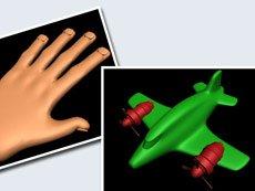 3D-Modellierung: Hand & Flugzeug
