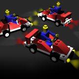 Lichtobjekt: Lego Autos bei Nacht