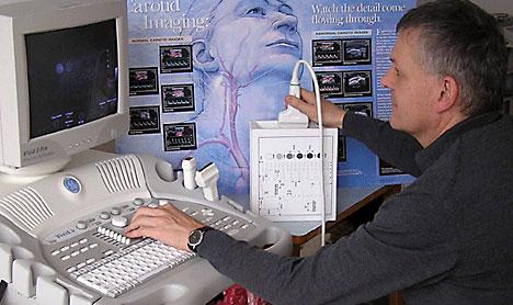 Bildakquisition mit einem Ultraschallgerät am Phantom