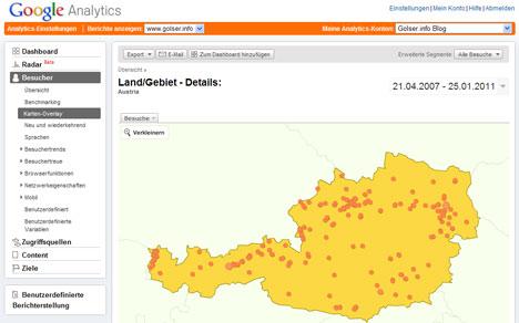 Google Analytics: Karten-Overlay