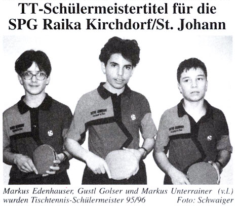 Tischtennis Schülermeister 1995/96