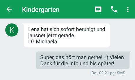SMS vom Kindergarten