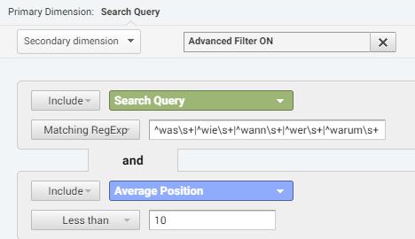 Featured Snippets Suchanfragen in Google Analytics