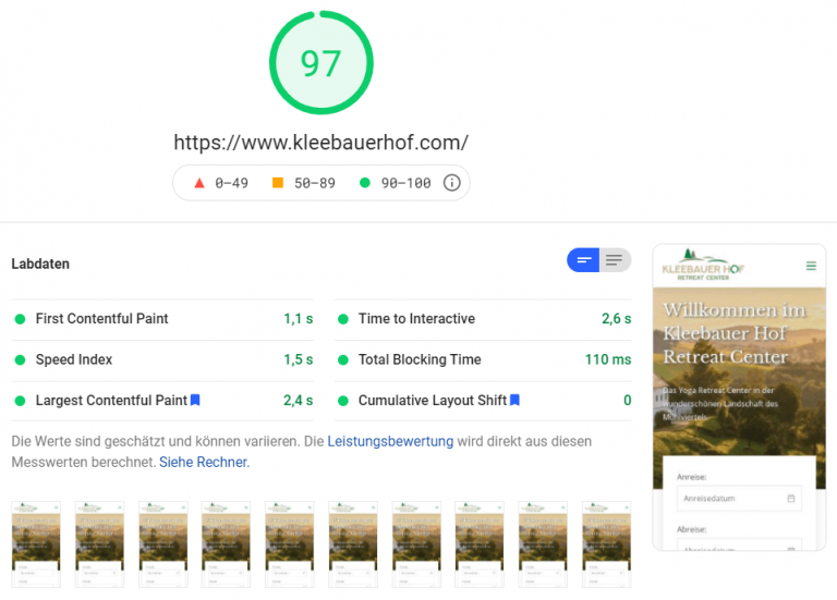 PageSpeed Insights: Kleebauer Hof